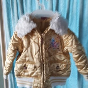 Disney Gold Satin baseball style Girls jacket 3t
